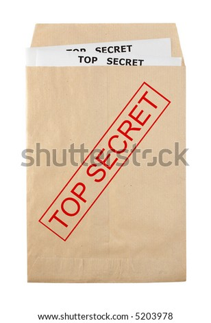 open envelope for document with top secret stamp and documents - stock photo