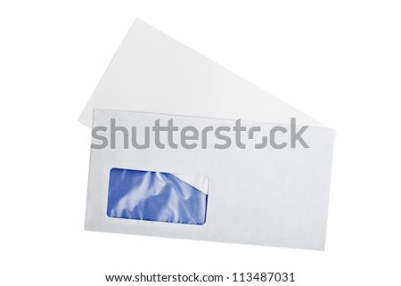 Open envelope with blank letter isolated on white background
