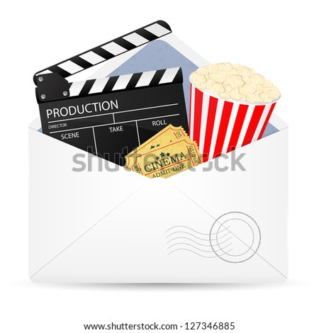 Open envelope with movie clapper board, popcorn and admit one ticket. Illustration.