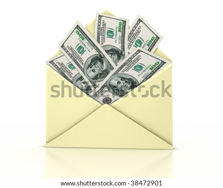 Open envelope with one hundred dollar bills coming out on white background. Clipping path included.