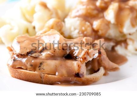 open faced hot chicken sandwich with mased potatoes - stock photo