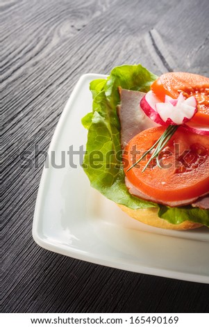 Open faced sandwich with ham meat