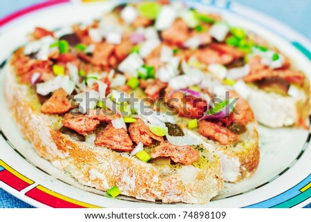 Open faced sandwiches (shallow dof) - stock photo