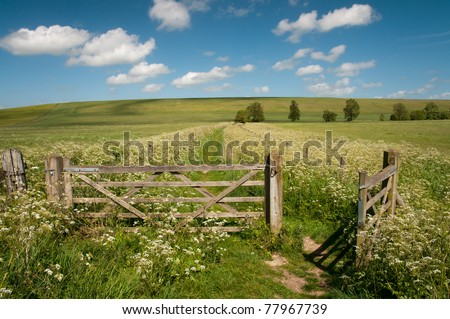 open farm gate - stock photo