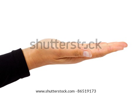 Open female hand isolated on white background