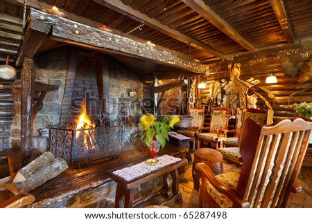 Open fire sitting place - stock photo