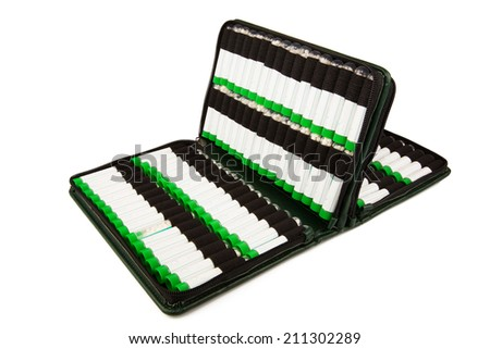 Open first aid kit with different homeopathic preparation inside isolated on white background - stock photo