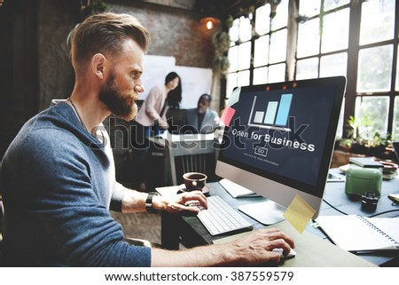 Open for Business Partnership Industry Concept - stock photo