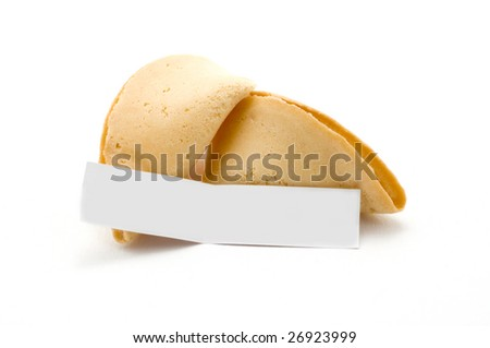 Open fortune cookie with blank message - stock photo