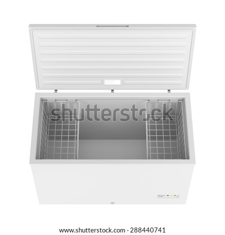 Open freezer isolated on white background - stock photo