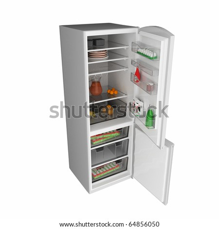 open fridge full with some kind of food  .3d render - stock photo