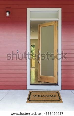 open front door welcome. Open Front Door With Welcome Mat O
