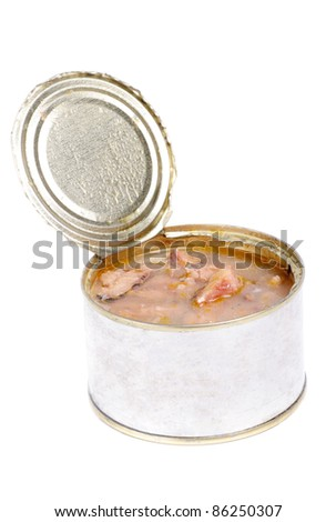 Open full can of sardines in olive oil on a white