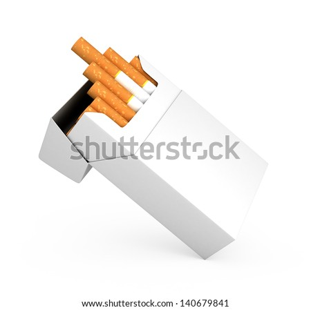 Open full pack of cigarettes isolated on white background - stock photo