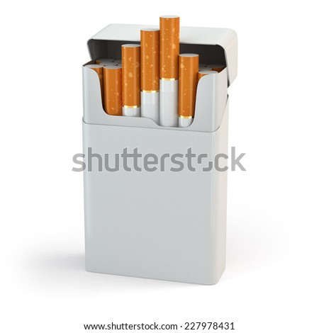 Open full pack of cigarettes isolated on white background. 3d - stock photo