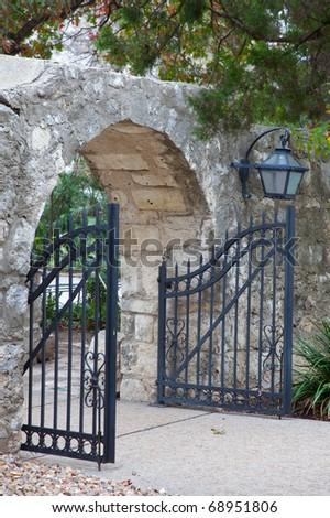 Open gate at the Alamo, San Antonio, TX - stock photo