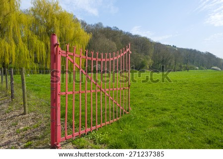 Open gate to a green field in spring - stock photo