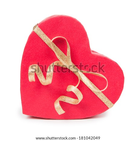 Open gift box in heart shape with bow