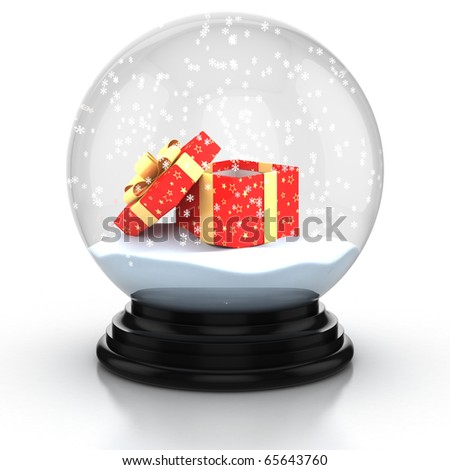 open gift box in the snow dome over white background - stock photo