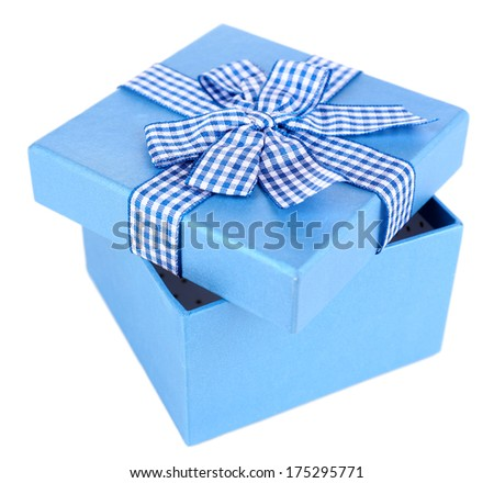 Open gift box isolated on white - stock photo