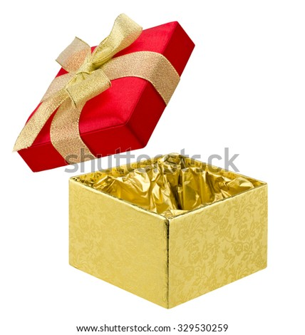 Open gift box of red and golden colors on white - stock photo