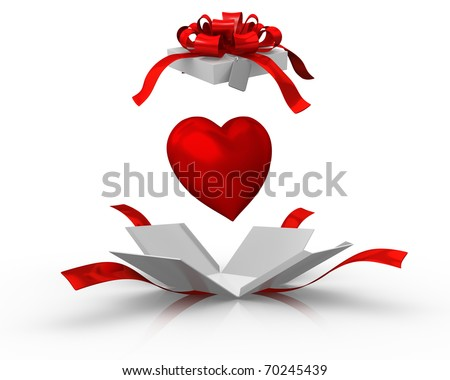 Open gift box with a heart - stock photo