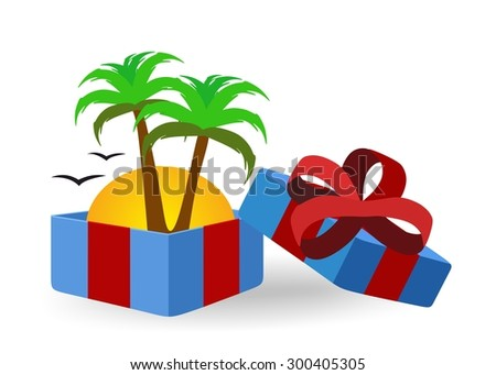 open gift box with a tropical island inside  - stock photo