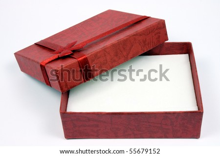 open gift box with a wine-red colour - stock photo
