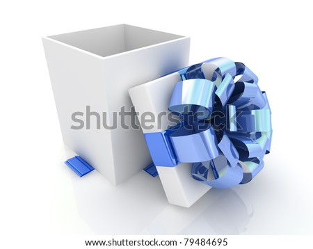 Open gift box with blue bow and ribbons.