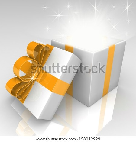 Open gift box with blue bow. 3d illustration.