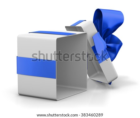 Open gift box with blue bow isolated on white - stock photo