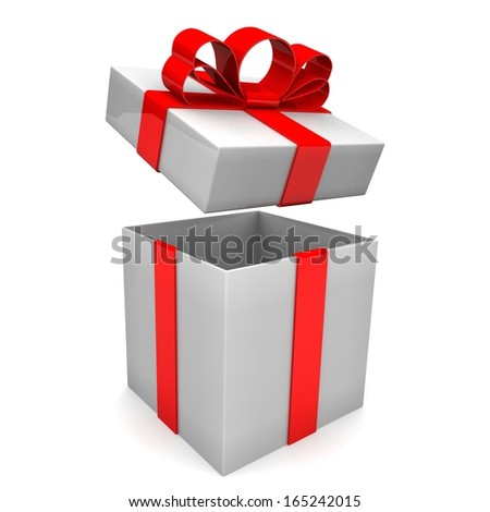 Open gift box with bow. 3d illustration. - stock photo