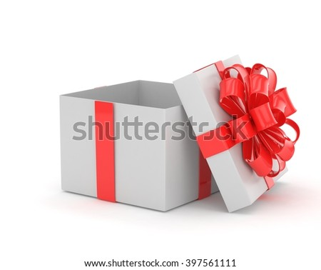 open gift box with bows isolated on white. 3D rendering. - stock photo
