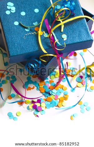 open gift box with confetti, holidays decoration - stock photo
