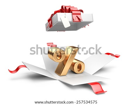 Open gift box with gold percent symbol on a white background. - stock photo