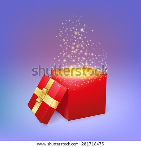 Open gift box with magic light fireworks.  illustration for your holiday - stock photo