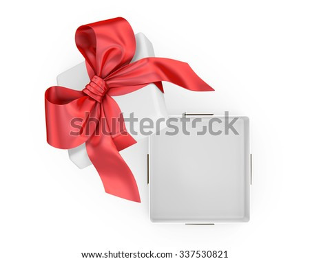 Open gift box with red bow isolated on white - stock photo