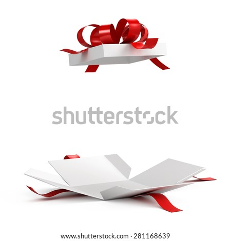 Open gift box with red ribbon on white background - stock photo