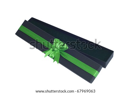 Open giftbox with a green ribbon. It contains nothing - stock photo