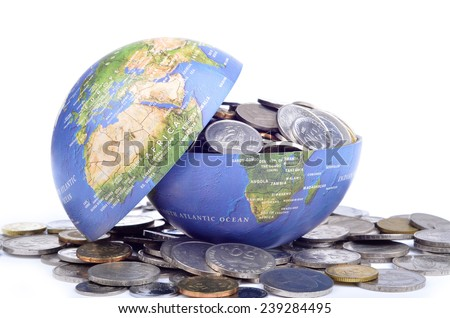 Open globe filled with coins - stock photo