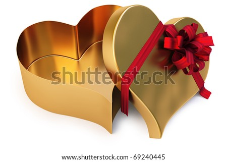 Open gold gift in the form of heart. isolated on white. with clipping path.