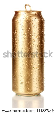 Open golden can isolated on white - stock photo