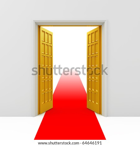 Open golden doors - stock photo
