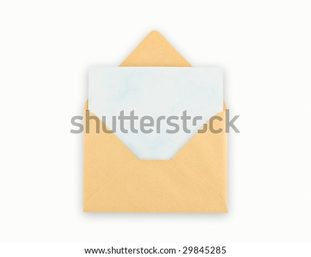 Open golden envelope with paper on white background. Clipping path excludes the shadow.
