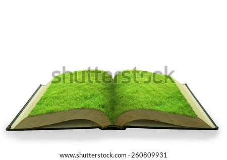 Open grass book isolated on white background - stock photo