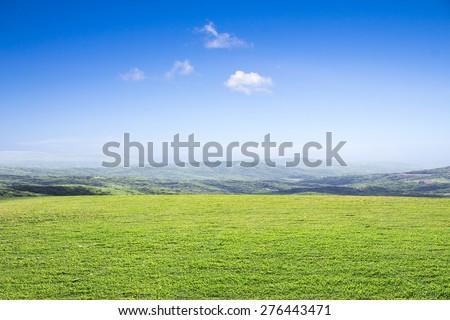 open grassland and sky.farm prairie field scenery scenic Outdoor landscape - stock photo