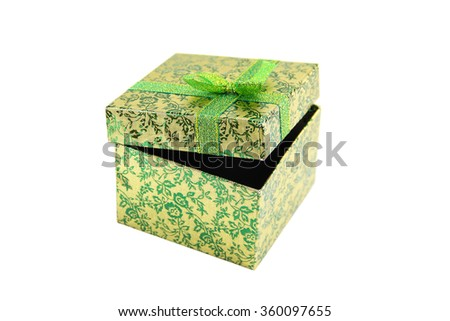 Open green - metallic gift box with ribbon bow. Holiday present. Object isolated on white background. - stock photo