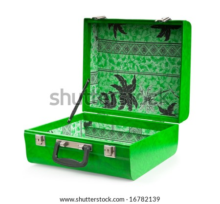 Open green suitcase, isolated on white background - stock photo