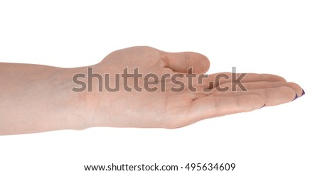 Open hand holding anything, natural female's skin, magenta manicure. Isolated on white background.