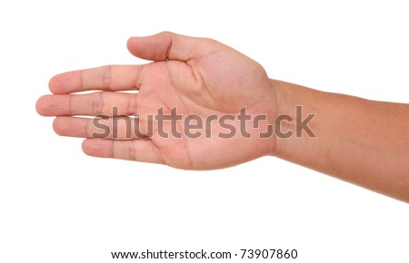 Open hand in signal clockwise orientation over white background - stock photo